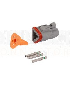 Deutsch DT Series 3 Way Plug Connector Kit with Green Band Contacts