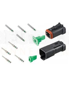 Deutsch DT4-1-CAT 4 Way DT Series CAT Spec Connector Kit with Green Band Contacts