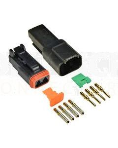 Deutsch DT4-4-CAT 4 Way CAT Spec Connector Kit with Gold Contacts