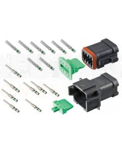 Deutsch DT8-1-CAT 8 Way DT Series CAT Spec Connector Kit with Green Band Contacts